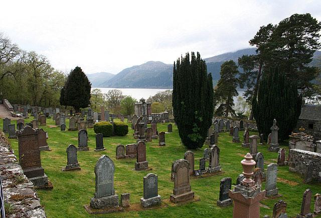 Boleskine cemetery overlooking Loch Ness