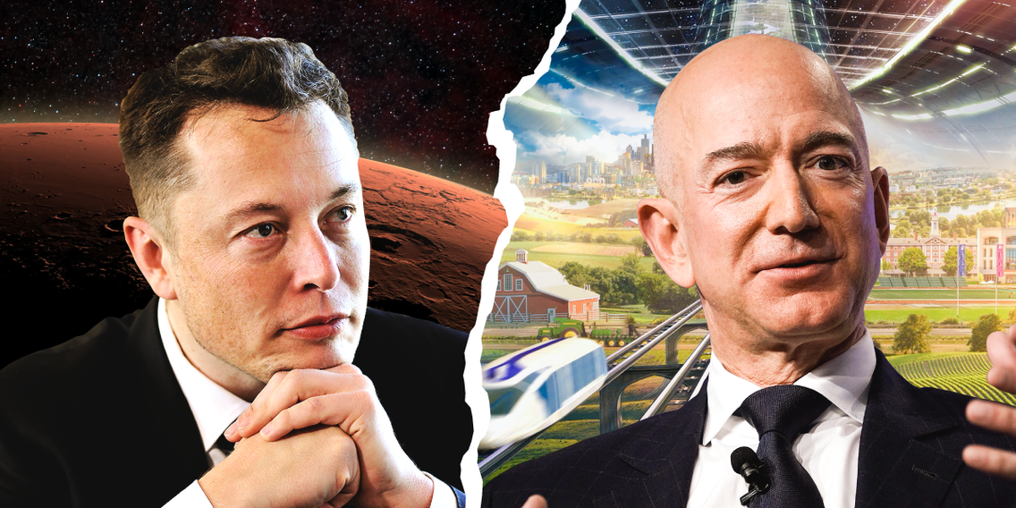 Elon Musk and Jeff Bezos have profound visions for humanity's future in space. Here's how the billionaires' goals compare 160
