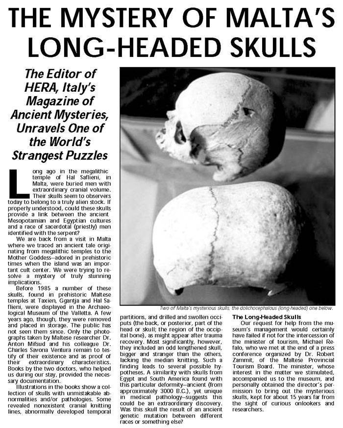 Old note on the mystery of elongated skulls in Malta. aliens in Malta