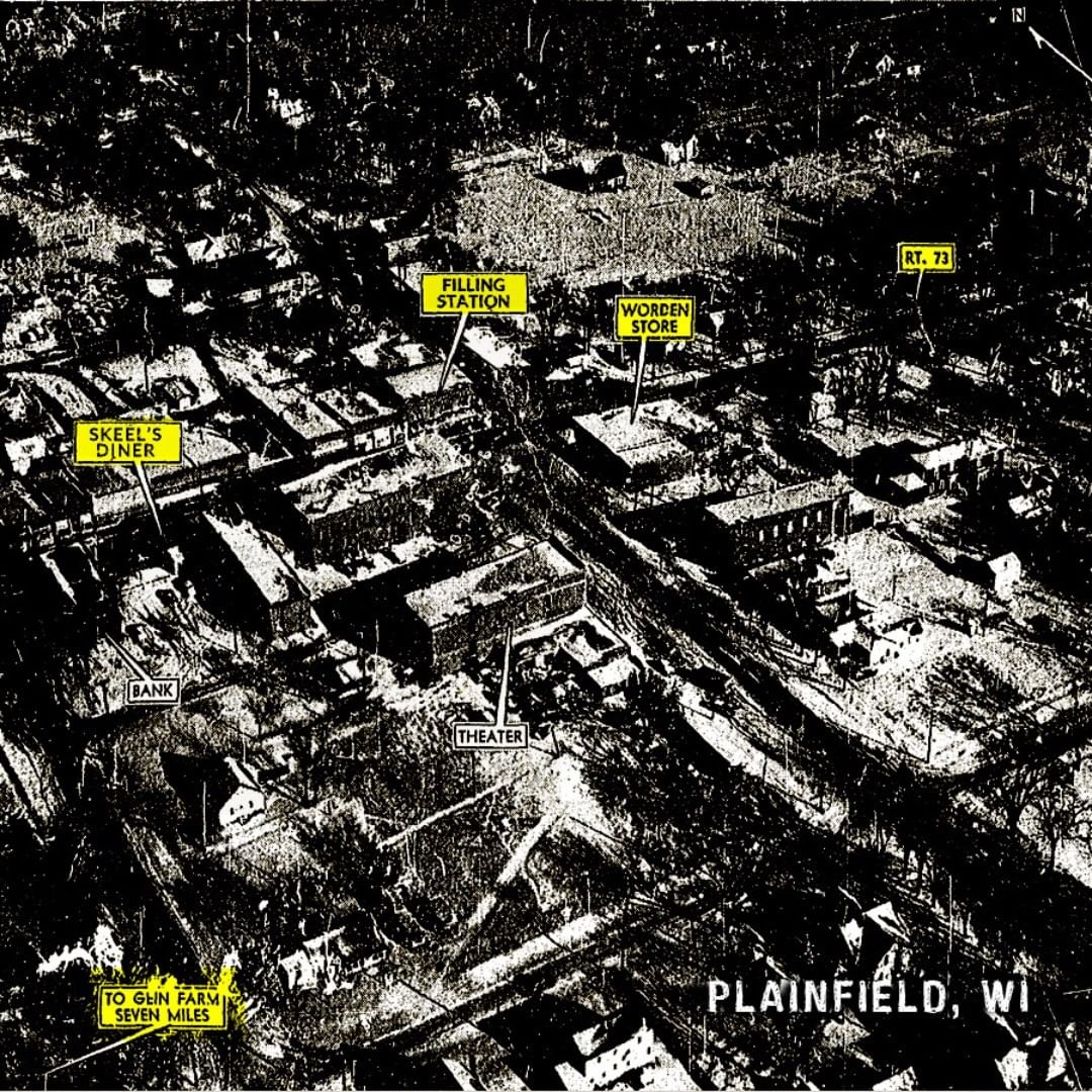 Map of Plainfield, Wisconsin showing the location of Ed Gein's property and Worden'shardware store