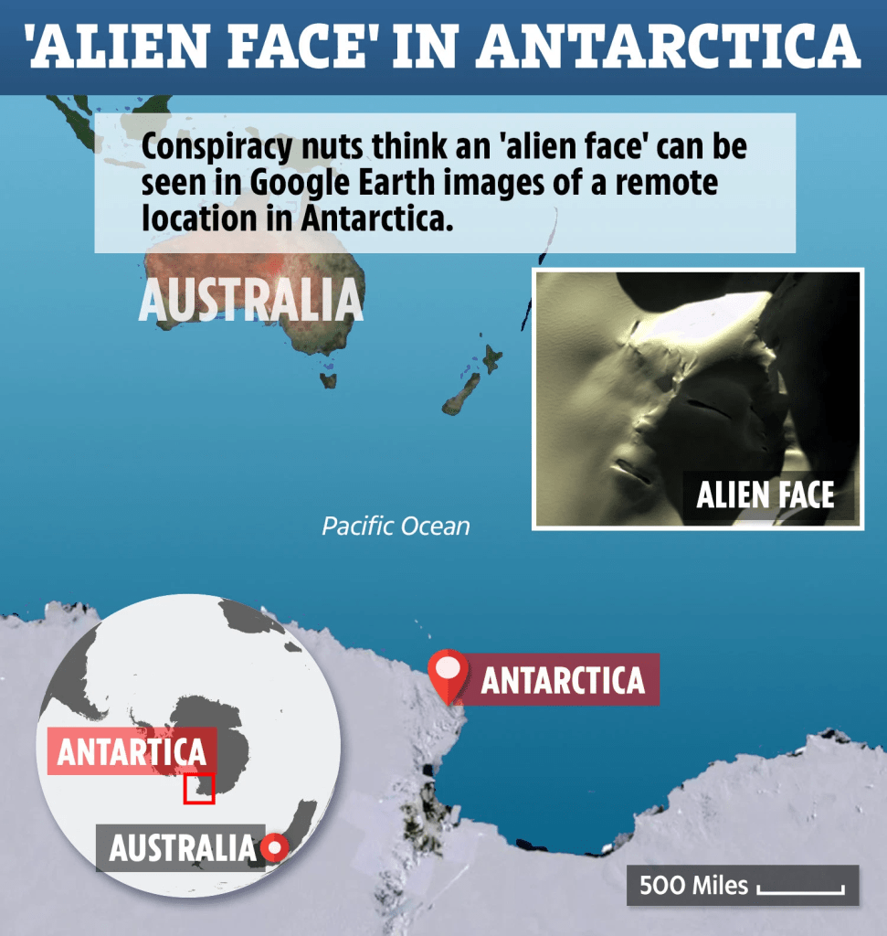 Google Earth uncovers enormous 'alien face' in Antarctica – and conspiracy nuts think it's the work of a hidden civilization 94