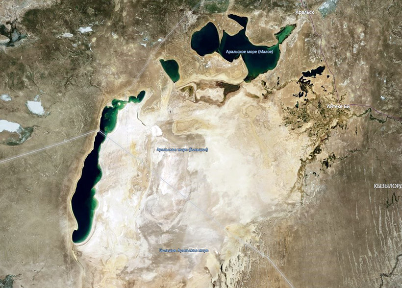 Aral Sea from satellite in 2019