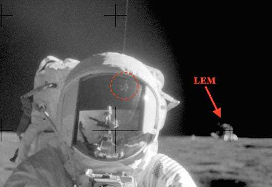 Photograph taken by astronauts of Apollo 11, visible structures of aliens