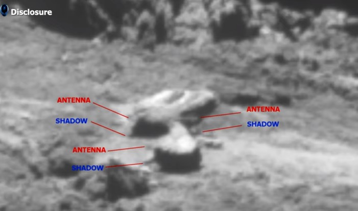 """COMET 67P, the """"Transmission of Extraterrestrial Sounds"""" comes from an unknown base visible on the Comet 104"""