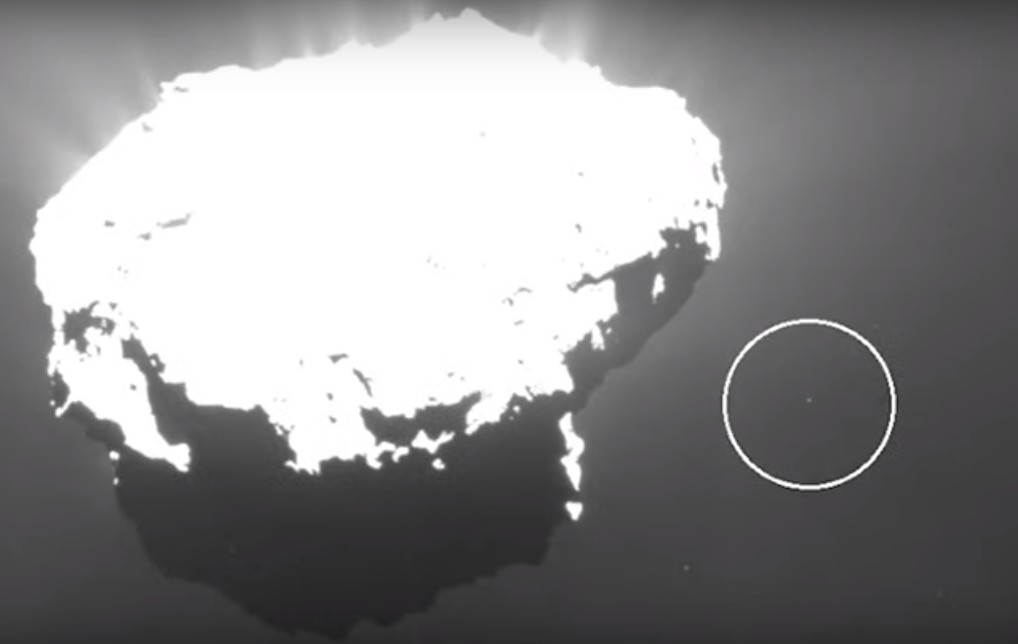"""COMET 67P, the """"Transmission of Extraterrestrial Sounds"""" comes from an unknown base visible on the Comet 105"""