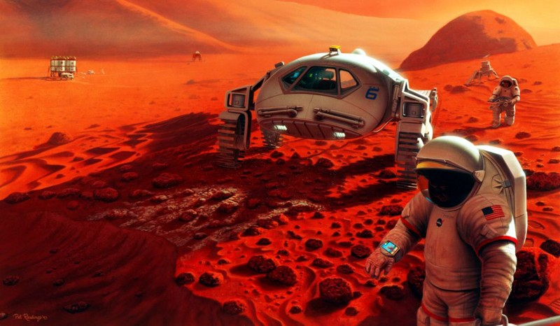 This artistic representation shows a manned mission to Mars
