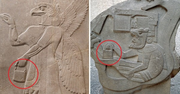 Mysterious 'handbags of the gods' spotted in ancient sculptures around the world 11