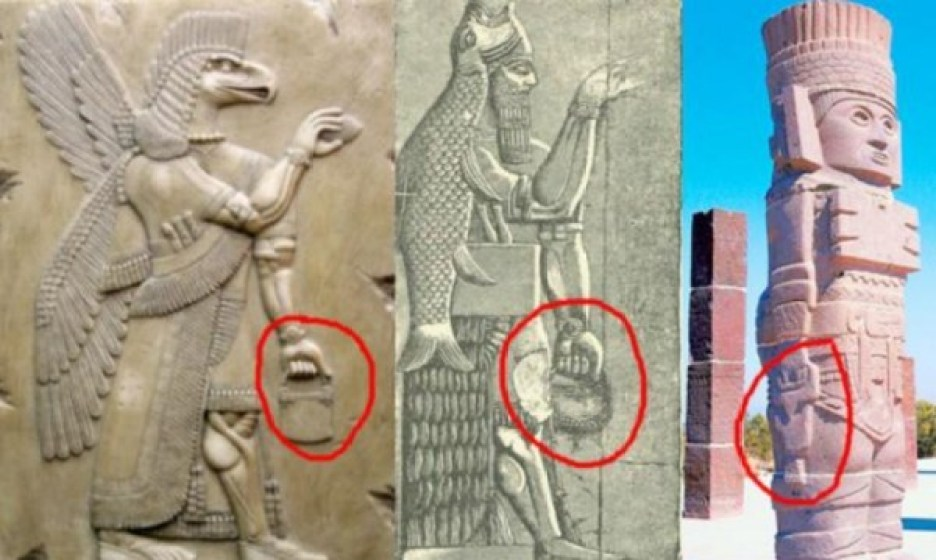 Mysterious 'handbags of the gods' spotted in ancient sculptures around the world 12