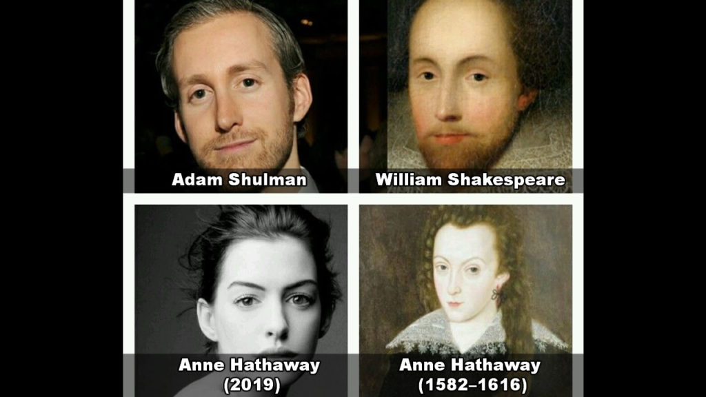 They say Shakespeare reincarnated to be Anne Hathaway's husband 3