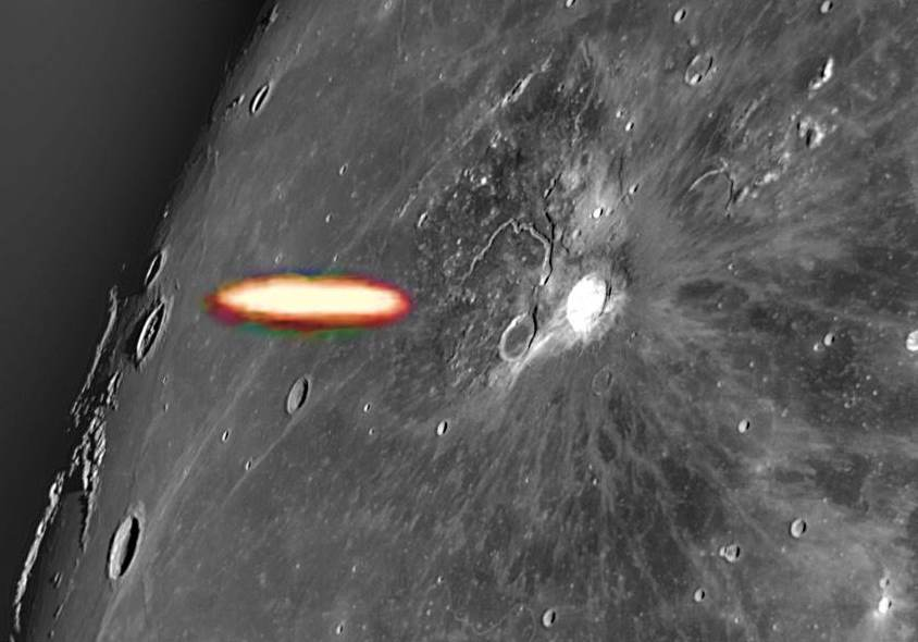 Astronomer records a UFO escaping from the Aristarchus Crater on the Moon 90