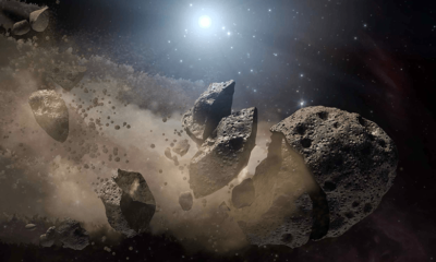Witnessing the destruction of an asteroid 87