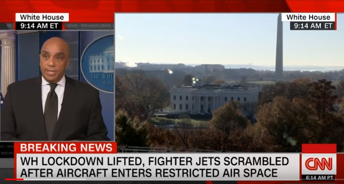 UFO flies to the White House and the Capitol. NORAD announces potential violation of airspace 93