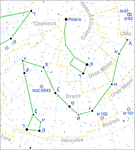"Map of the constellation Draco ""width ="" 451 ""height ="" 500 ""srcset ="""