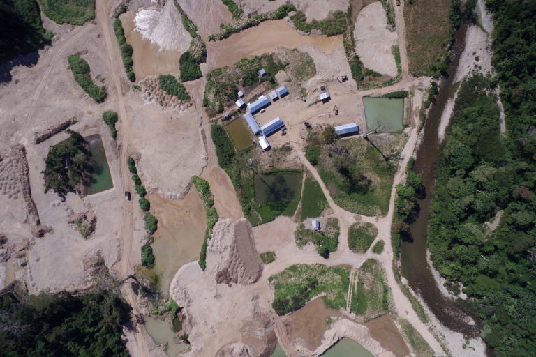 Gold mine operating without license destroys primary forest in protected area 108