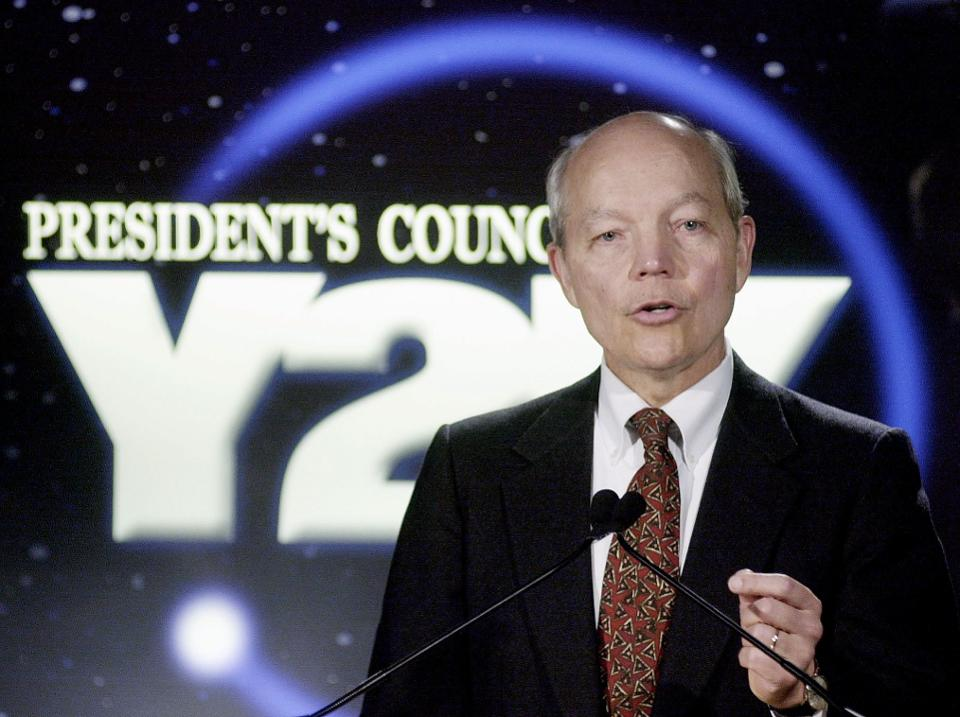 President's Council on Year 2000 Conversion Chairman John Koshinen at a press conference in December, 1999 in Washington, DC