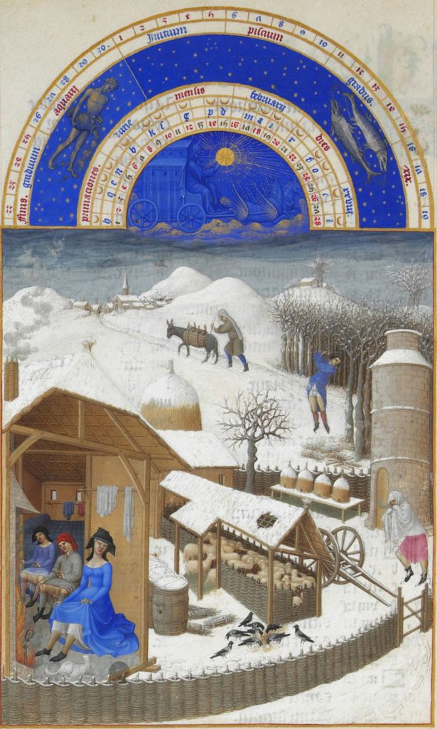 Illustration of February from the French watch book of 1412-1416. Light clothes, thin snow, and all this in the midst of winter. In the illustrations of the remaining, less severe months, there is no snow at all. It seems that as early as the beginning of the 15th century, the climate in Europe was quite warm / © Wikinedia Commons