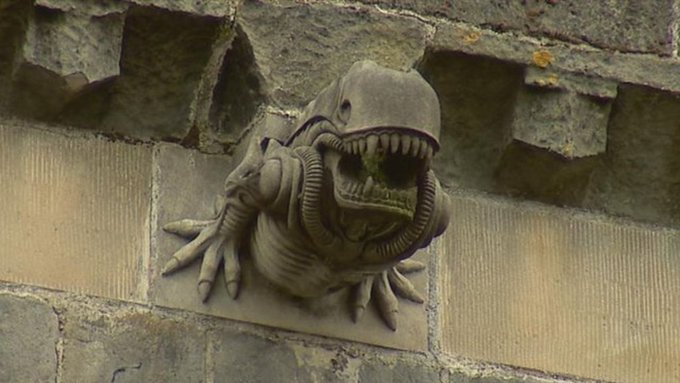 The gargoyle on the wall of the 12th century abbey is similar to Alien. How did it happen? 86
