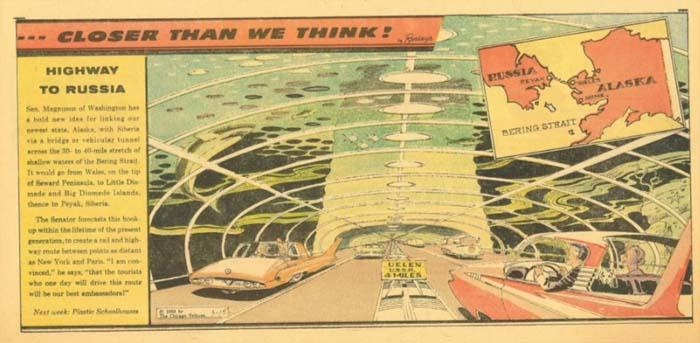 Tunnel connecting Russia and Alaska (Arthur Radebo comics)