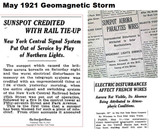 99 years ago, the Great Geomagnetic Storm of 1921 11