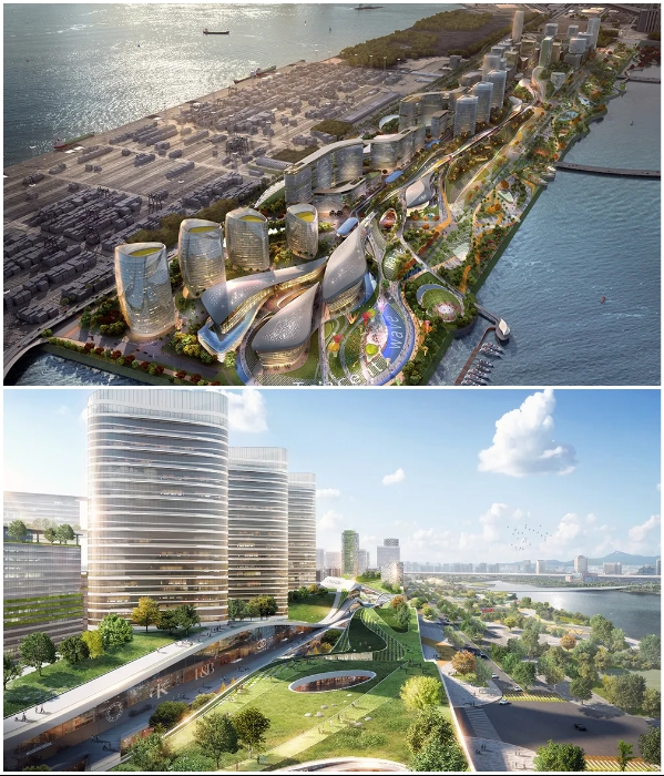 "The main decoration of the city will be the ""Catch the Wave"" park located along the coast of the bay (""Net City"" concept). 