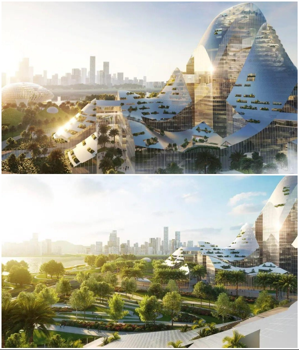 The wavy photovoltaic panels on the roofs of buildings imitate mountain peaks (concept