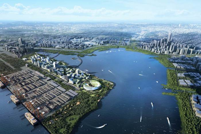 Net City will be built on a reclaimed land plot along Dachan Bay in Shenzhen, China. | Photo: eyeshenzhen.com/ © NBBJ.