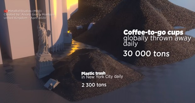 A clear comparison of all the plastic in the world with New York 10