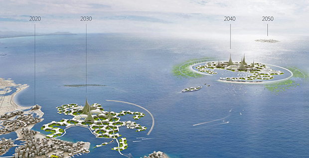 Over time, systeders become more autonomous and go further into the ocean, the Blue21 floating city development concept says.