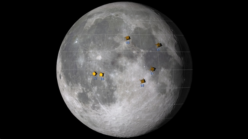 The approximate location of the places where the astronauts landed