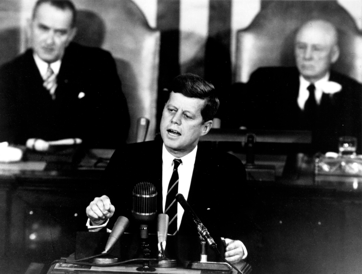 "President Kennedy delivers his ""Decision to Go to the Moon"" speech on May 25, 1961, before Congress."