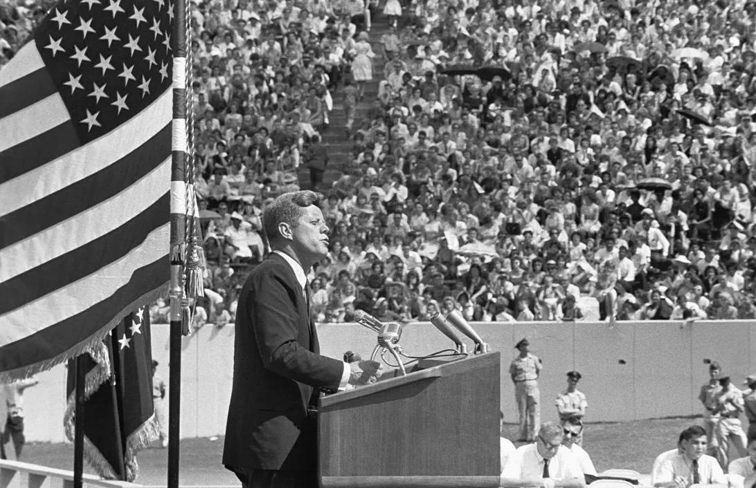"""President John F. Kennedy delivers his famous """"We Chose to Go to the Moon"""" speech at Rice University of Houston in September 1962."""