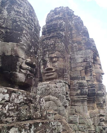 stone faces of Bayon Temple in Angkor