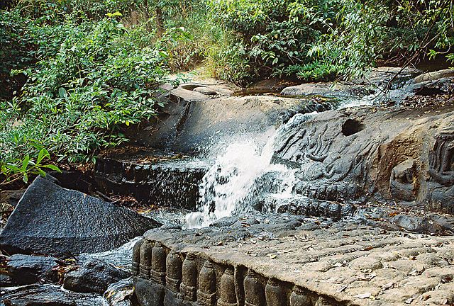 Waterfall and lingams at Qbal Spien in Ankor