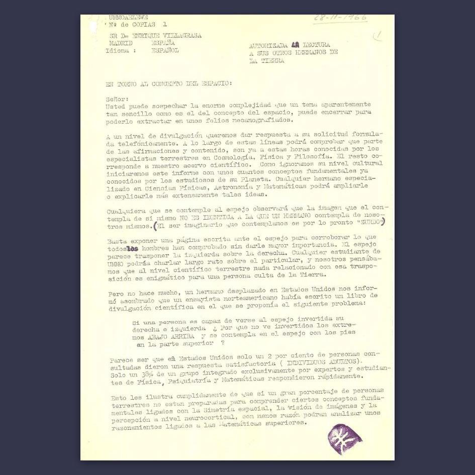 A letter in Spanish sent to a certain Enrique Villagras on November 28, 1966.  Noteworthy is the lilac seal with the Ummo symbol (bottom right).  Photo © Wikipedia