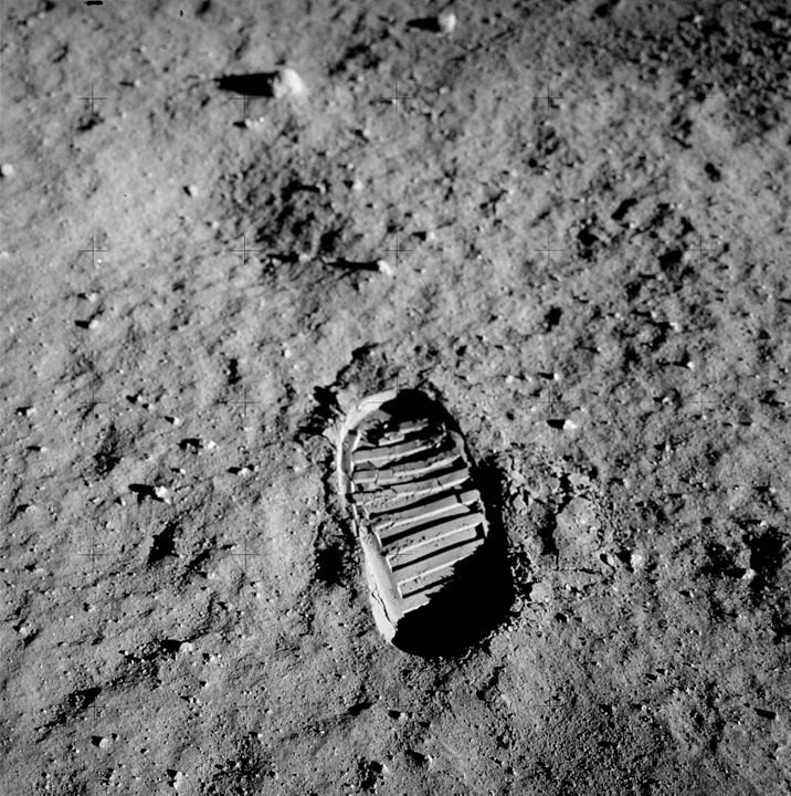 Buzz Aldrin's Trail on the Moon