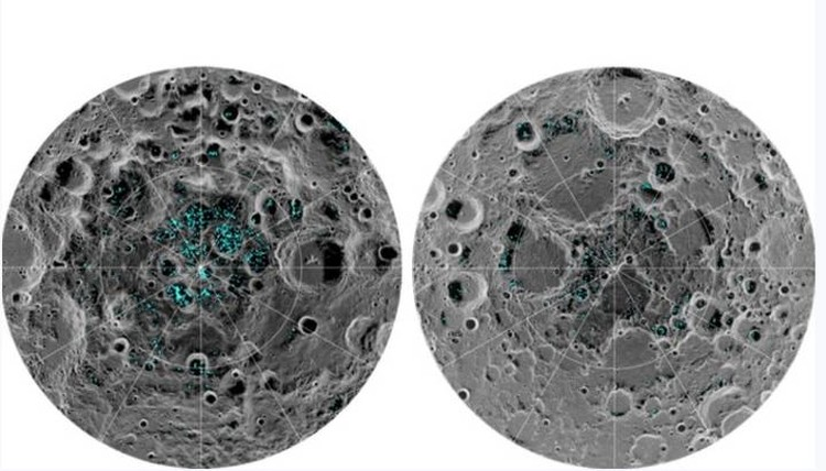 The location of frozen bodies of water at the South (left) and North Poles of the Moon.