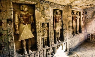 Where do false doors lead in ancient Egyptian tombs, and who could pass through them 87
