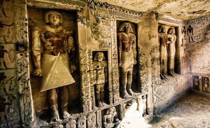 Where do false doors lead in ancient Egyptian tombs, and who could pass through them 10