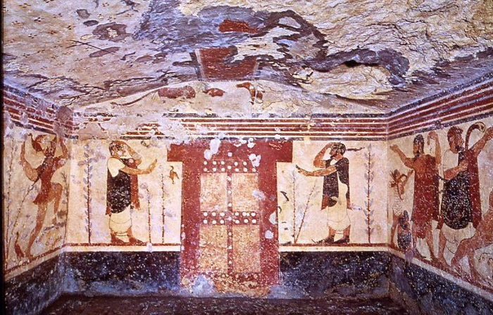 Tomb of the augurs of the Etruscan necropolis of Monterozzi in Tarquinia