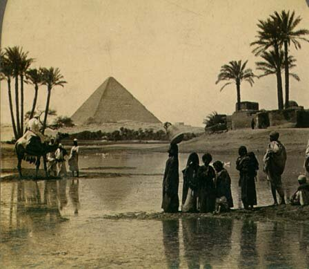 "Pyramid of Cheops in the 19th century (photo from Wikipedia article ""Pyramid of Cheops"", Public domain, https://commons.wikimedia.org/w/index.php?curid=46013)"