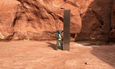 A mysterious metal monolith found in the Utah desert canyon 90