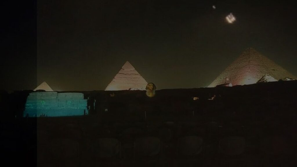 On December 4, many UFOs appeared at night over the pyramids of Giza in Egypt 86