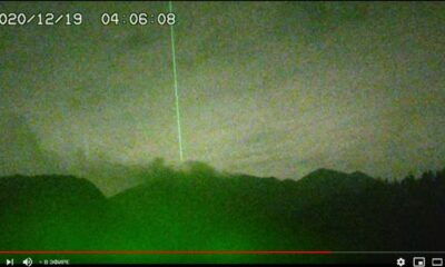 Strange green energy beam over the Sakurajima volcano reappears after 5 years 99