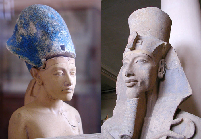 Portraits of Akhenaten in his youth and heyday.