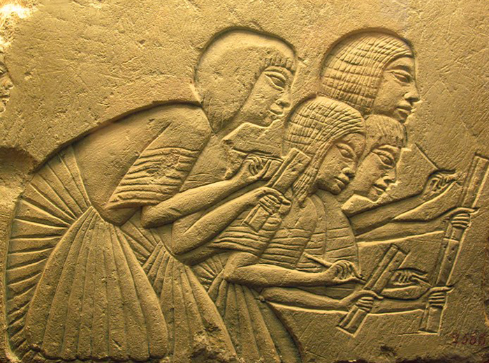 Scribes.  An example of Amarna art - the role of the common man is growing.