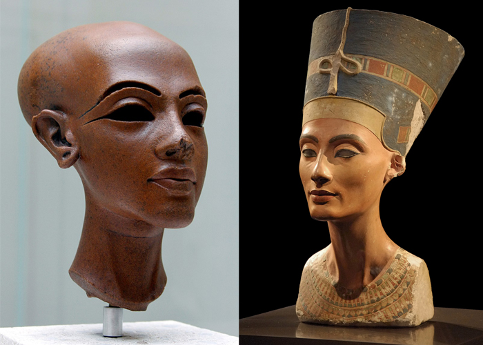 On the right is a portrait of Nefertiti.