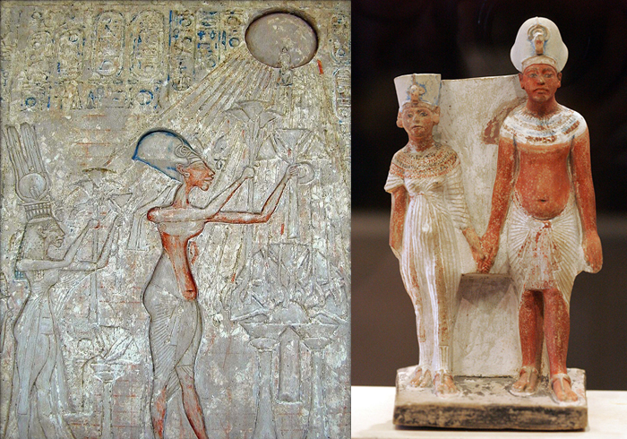 Prayer scenes.  Akhenaten and Nefertiti.