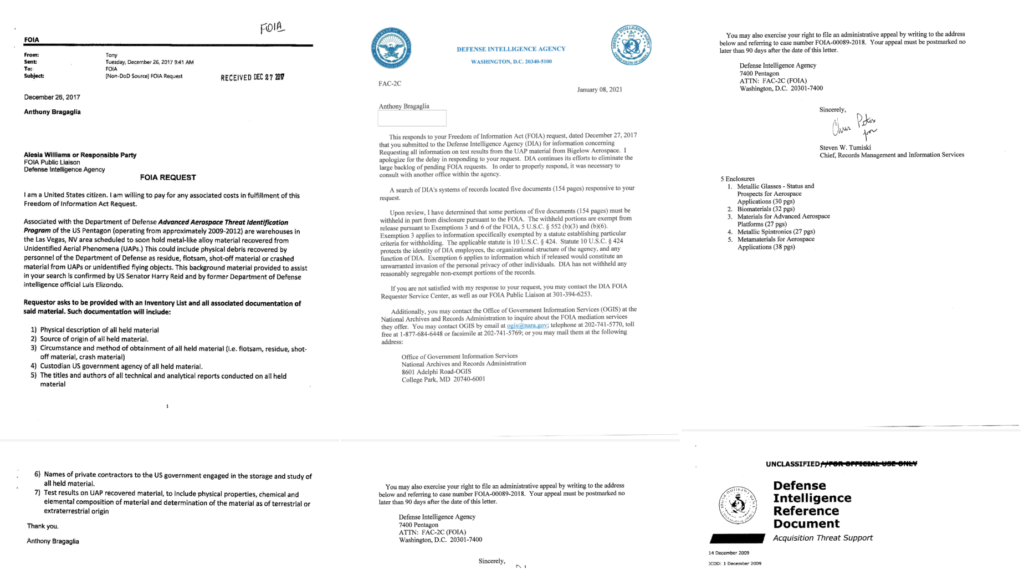 On the left is Bragaglia's request, on the right is a cover letter for the official response provided.  Anthony received five files in total, of which only the largest has been published / © UFO Explorations