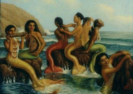African artist's impression of mermaids: The Zimbabwean government has blamed delays to two essential infrastructure projects on 'the presence of mermaids'