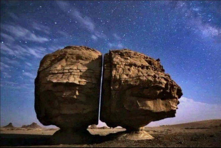 Sawed rocks: The mystery of an ancient stone in Saudi Arabia mysteriously cut in half 1